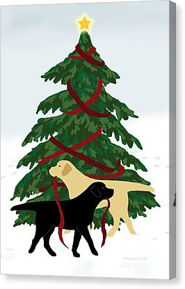 Black And Yellow Labs Trim Christmas Tree Canvas Print