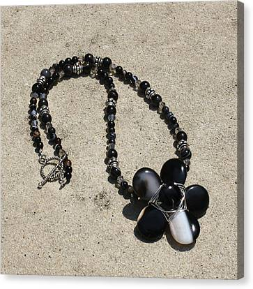 Black Banded Onyx Wire Wrapped Flower Pendant Necklace 3634 Canvas Print