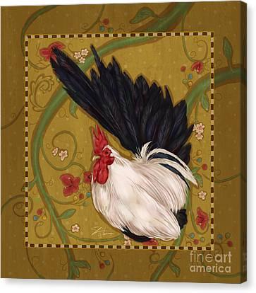 Black Bantam Rooster Canvas Print by Shari Warren