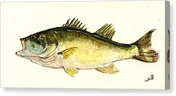 Black Bass Fish Canvas Print by Juan  Bosco
