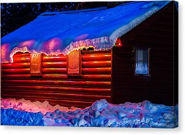 Black Bear Cabin Canvas Print by Optical Playground By MP Ray
