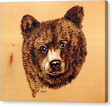 Canvas Print featuring the pyrography Black Bear Cub by Ron Haist