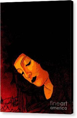 Black Botticelli Madonna Canvas Print
