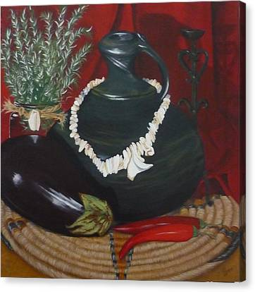 Canvas Print featuring the painting Black Bottle by Helen Syron