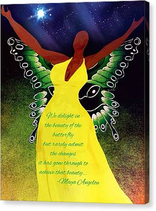 Black Butterfly - Tribute To Maya Angelou Canvas Print
