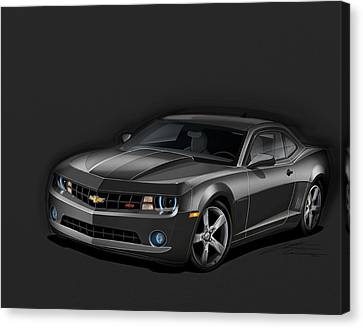 2012 Canvas Print - Black Camaro by Etienne Carignan
