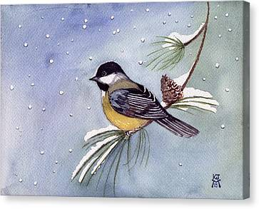 Black-capped Chickadee Canvas Print by Katherine Miller