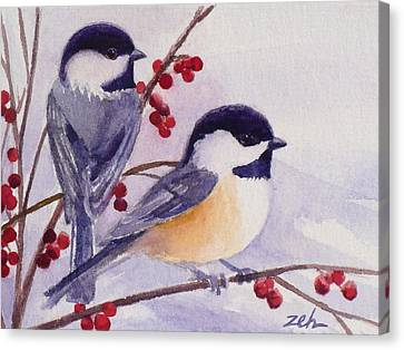 Black-capped Chickadees Canvas Print