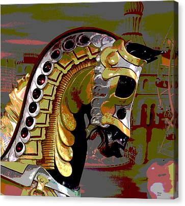Wooden Platform Canvas Print - Black Carousel Horse by Charles Shoup