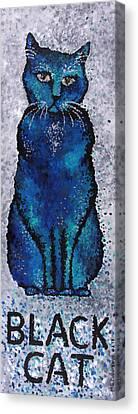 Black Cat Blue Canvas Print by Michelle Boudreaux