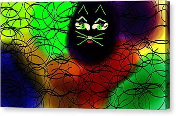 Black Cat Dreams Canvas Print by Rosana Ortiz