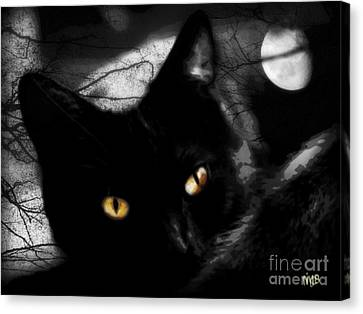 Canvas Print featuring the digital art Black Cat Golden Eye by Mindy Bench
