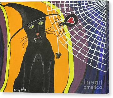 Black Cat In A Hat  Canvas Print
