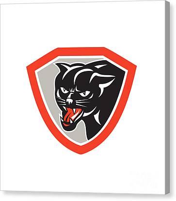 Black Cat Panther Head Shield Canvas Print
