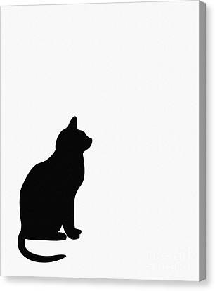 Black Cat Silhouette On A White Background Canvas Print