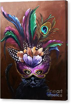 Black Cat With Venetian Mask Canvas Print