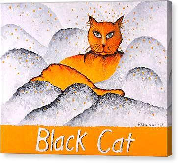 Black Cat Yellow Canvas Print by Michelle Boudreaux