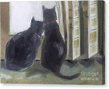 Black Cats  Canvas Print by Mary Hubley