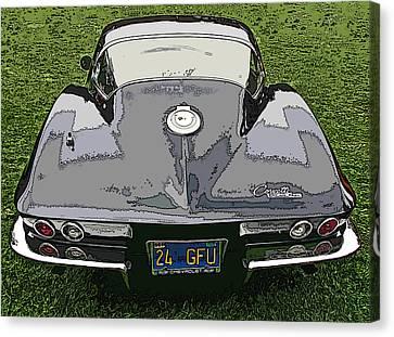 Sheats Canvas Print - Black Chevy Corvette Stingray by Samuel Sheats