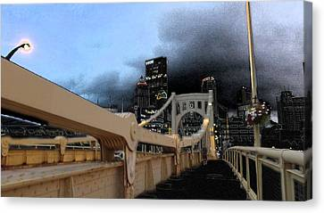 Upmc Canvas Print - Black Cloud Over The City by Joyce  Wasser
