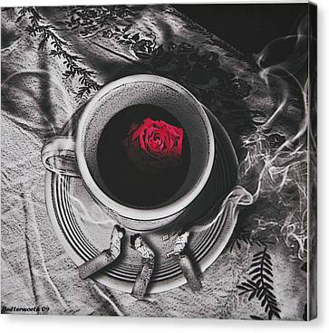 Black Coffee And Roses Canvas Print by Larry Butterworth