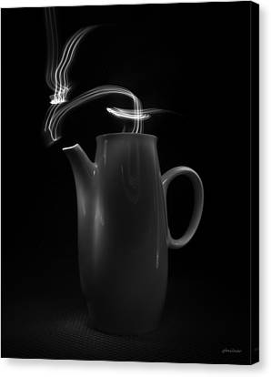 Canvas Print featuring the photograph Black Coffee Pot - Light Painting by Steven Milner