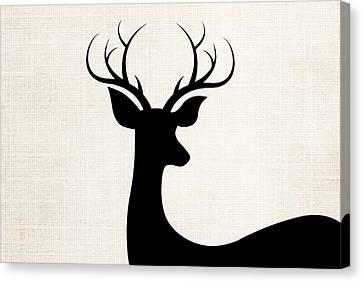 Black Deer Silhouette Canvas Print