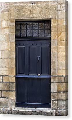 Black Door In Monflanquin Canvas Print