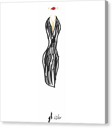 Black Dress With Gold Necklace Canvas Print by Mark Wilcox
