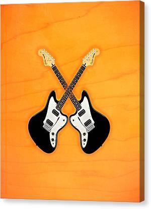Black Fender Jaguar  Guitar Canvas Print by Doron Mafdoos