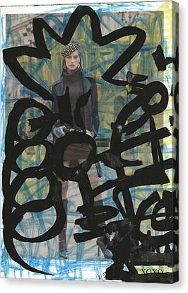 21st Century Canvas Print - Black Graffiti Blossom Model by Edward X