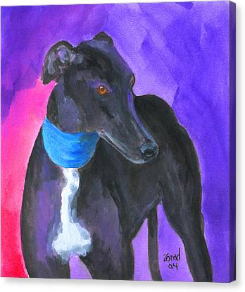 Black Greyhound Watercolor Canvas Print