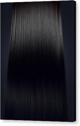 Black Hair Perfect Straight Canvas Print by Allan Swart