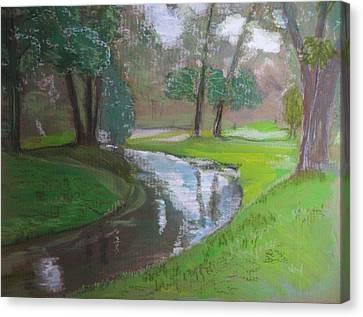 Black Hancza River Canvas Print by Agata Suchocka-Wachowska