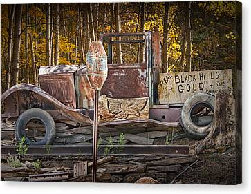 Stop Sign Canvas Print - Black Hills Gold Truck Sign by Randall Nyhof