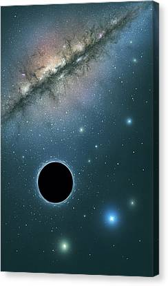 Black Hole And Galaxy, Artwork Canvas Print by Science Photo Library