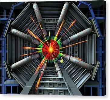 Black Hole Simulation On Lhc Canvas Print by David Parker
