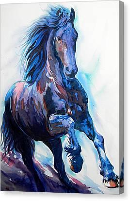 Black Horse Canvas Print by J- J- Espinoza