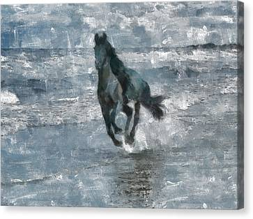 Canvas Print featuring the painting Black Horse Running On The Beach by Georgi Dimitrov