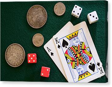 Black Jack And Silver Dollars Canvas Print by Paul Ward