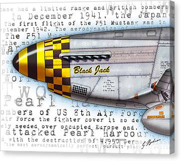 Black Jack P-51 Mustang Nose Art Canvas Print