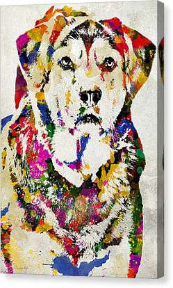 Black Lab Watercolor Art Canvas Print by Christina Rollo