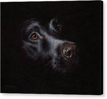 Black Labrador Painting Canvas Print by Rachel Stribbling