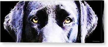 Black Labrador Retriever Dog Art - Lab Eyes Canvas Print by Sharon Cummings