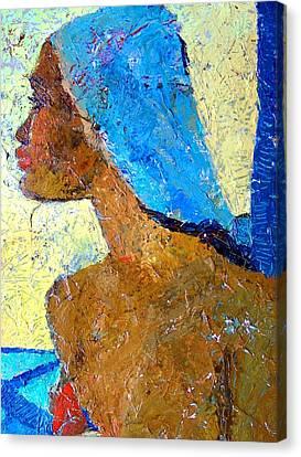 Profile Canvas Print - Black Lady With Blue Head-dress by Janet Ashworth