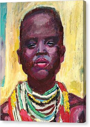 Black Lady With Necklaces Canvas Print by Janet Ashworth