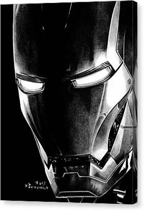 Avengers Canvas Print - Black Led Avenger by Kayleigh Semeniuk