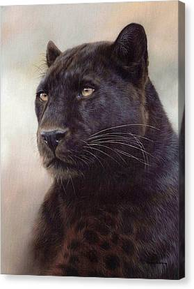 Black Leopard Painting Canvas Print by Rachel Stribbling