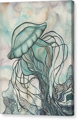 Canvas Print featuring the painting Black Lung Green Jellyfish by Tamara Phillips