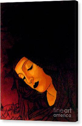Byzantine Canvas Print - Black Madonna by Genevieve Esson